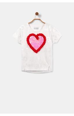 Camiseta corazón lentejuelas